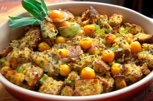 Quinoa Cornbread Stuffing with Pichuberries