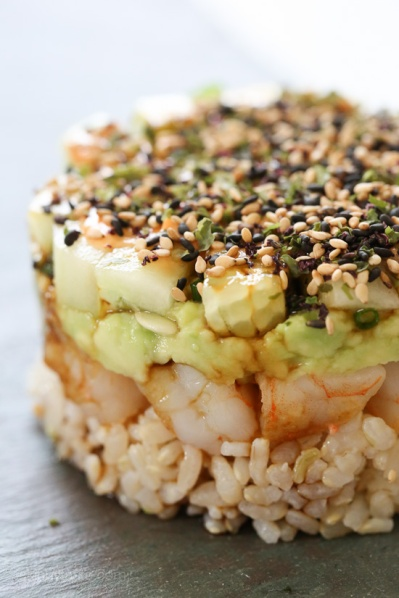 Spicy Shrimp Avocado Sushi Stack