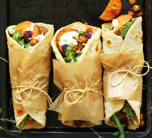 30-minute-FALL-BOUNTY-THANKSGIVING-Wraps-Roasted-Sweet-Potatoes-Chickpeas-with-cranberries-thyme-and-Garlic-Dill-Sauce-vegan-thanksgiving-entree-dinner-recipe